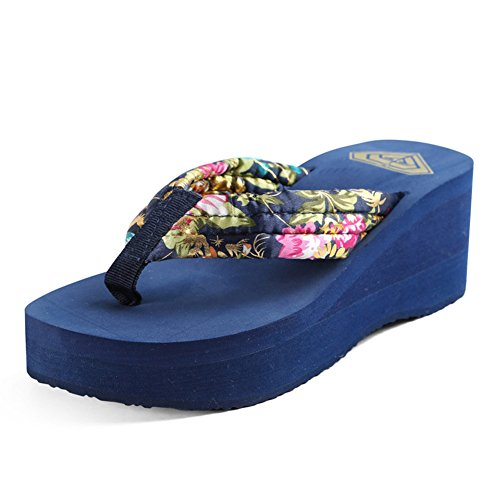 Heel Casual Summer Dress Wedge Blue Shoes Silk Fuchsia Comfort Women's amp; Spring Slippers Coffee for Flip Flops 7FvAn