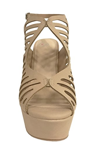 SULA Platform Sandals Strap High Cage Womens Cutout Leatherette Nubuck Natural Wedge Heel Ankle nrxrqgUwW