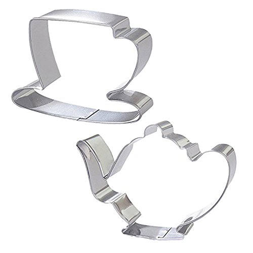 (Finance Plan Big Promotion 2Pcs Teapot Tea Cup Set Cookie Cutter Stainless Steel Fondant Cake Mold Tool)