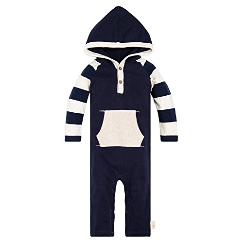 (Burt's Bees Baby Baby Boys'' Romper Jumpsuit, 100% Organic Cotton One-Piece Coverall, Thermal Stripe Hooded 12 Months )