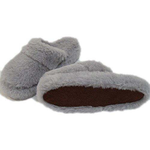Hausschuhe Merino grau Schafwoll-Schuhe Hüttenschuhe Slipper