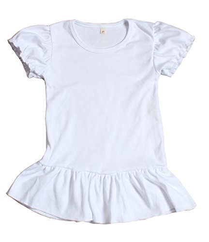 Yawoo Haan Baby Girls Solid Short Sleeve T-Shirt Cotton Basic Tee White 5-6T