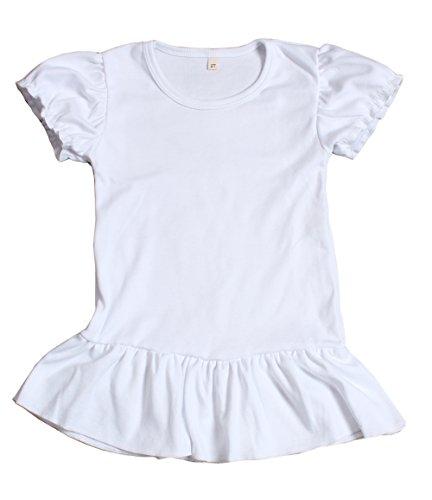 Yawoo Haan Baby Girls Solid Short Sleeve T-shirt Cotton Basic Tee White 2T