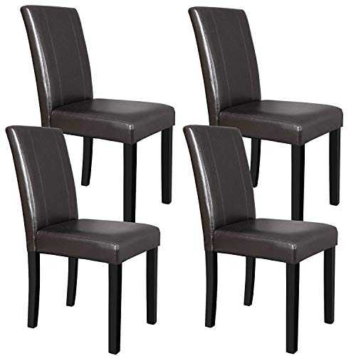 Saturnpower Dining Chair Solid Wood Leatherette Padded Chair Kitchen Room Parson Chair,Set of 4 (Office Cascade Set)