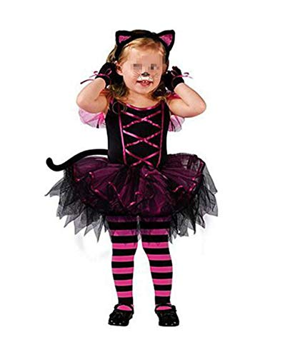 Christmas Cosplay Fancy Halloween Costume for Kids Cat Witch Children Tutu Dress Headwear Black M