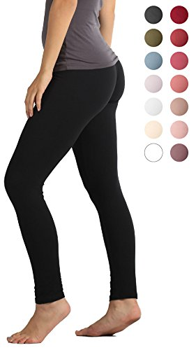 Solid Color Leggings - Premium Ultra Soft High Waist Leggings for Women - Black - Small/Medium