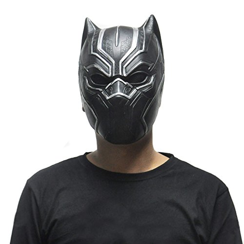 [SHEENROAD Black Panther Mask Movie Fantastic Four Latex Mask] (Panther Costumes)