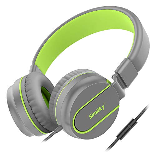 Kids Headphones for School Children- SIMILKY Stereo Tangle-Free 3.5mm Jack Wired Cord On-Ear Headset for Children 8-15 years old (ORIGINAL / GREEN)