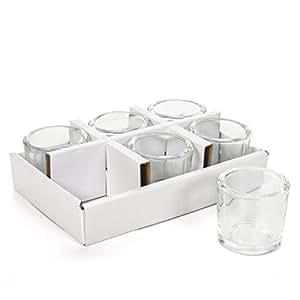 "Hosley's Set of 6 Heavy Clear Chunky Glass LED Tea Light, Tea light Candle Holders - 2.4"" High. Ideal GIFT for Weddings, Parties, Spa, Aromatherapy, Bridal Setting, Reiki, Meditation, Bulk Buy O6"