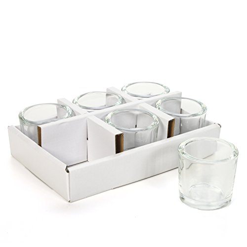 (Hosley Set of 24 Heavy Clear Chunky Glass Tea Light, LED, Votive Candle Holders - 2.4