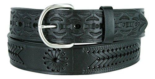 2287 Western Floral Basketweave Genuine Leather Belt (32, Black)