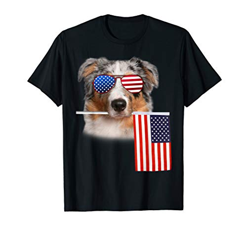Womens Dogs Aussie - Aussie Dog 4th of July Merica American Flag Patriotic TShirt