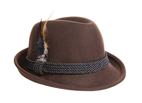 [Fedora Holiday Oktoberfest Hat - Wool - Brown XL (7 1/2 to 7 5/8)] (Oktoberfest Costumes Hat)