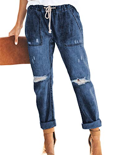 - GOSOPIN Women Drawstring Elastic Waistband Loose Pants Distressed Denim Jeans X-Large Blue
