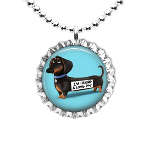 BUDDY - THE SECRET LIFE OF PETS INSPIRED Flat Botlte Cap Necklace Silver Color AMZN78