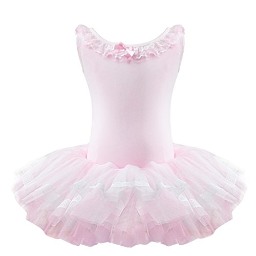 YiZYiF Girl's Child Party Ballet Costume Tutu Leotards Dance Skate Dress Outfit Pink 3-4 (Pink Dance Costume)