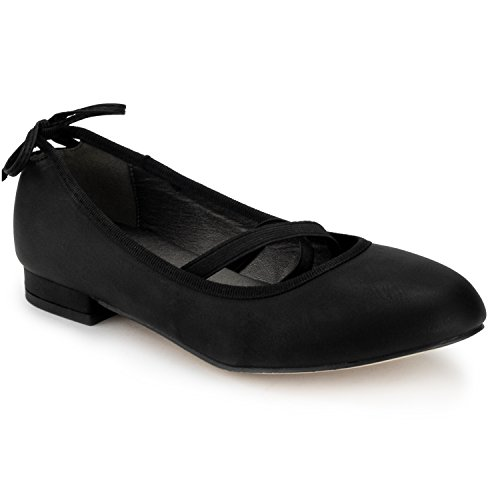 RF ROOM OF FASHION Mary Jane Ballet Flats - Bow D?or Accent - Extra Insole Cushion - Kitten Low Heel Comfort Casual Shoe Black PU - Dor Accent