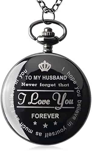 Pocket Watch To My Husband Love Forever Necklace Chain From Wife to Husband Boyfriend Valentines Day Gifts for Him Surprise Gifts for Men with Black Gift Box