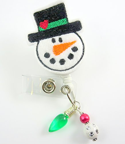 Christmas Snowman w/Hat - Nurse Badge Reel - Retractable ID Badge Holder - Nurse Badge - Badge Clip - Badge Reels - Pediatric - RN - Name Badge Holder