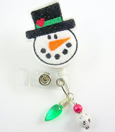 Christmas Snowman w/Hat - Nurse Badge Reel - Retractable ID Badge Holder - Nurse Badge - Badge Clip - Badge Reels - Pediatric - RN - Name Badge Holder