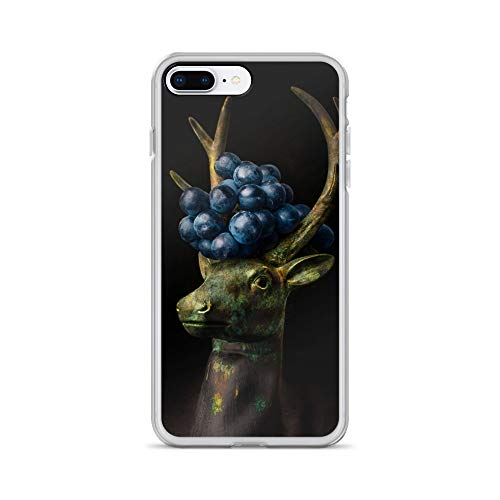 iPhone 7 Plus/8 Plus Case Anti-Scratch Creature Animal Transparent Cases Cover A Stags Head with Grapes in Its Antlers Animals Fauna Crystal Clear