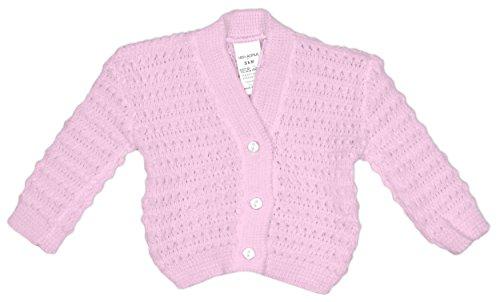 bebé De punto Botón De Cardigan Chaqueta Acrílico Blanco Rosa Azul rallas desde Recién nacido a 9 Meses Rosa