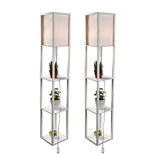 LED Shelf Floor Lamp - Simple Design Modern Standing Lamp with Soft Diffused Uplight - Asian Style Wooden Frame with Convenient Open Box Display Shelves- White,Set of 2 (White 2)