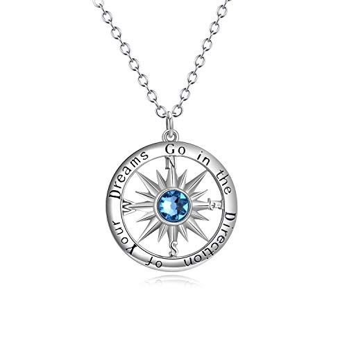 AOBOCO S925 Sterling Silver Blue Birthstone Sun Compass Necklace for Women Men Kids Go in The Direction of Your Dreams Engraved Pendant for Best Friend Graduation Birthday Gift (22IN Adjustable)