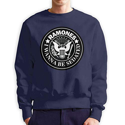 QTHOO Men's Long Sleeve Ramones I Wanna Be
