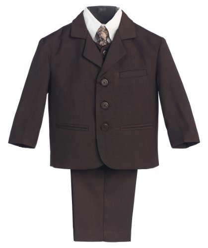 5 Piece Brown Suit with Shirt, Vest and Tie - Size 6]()