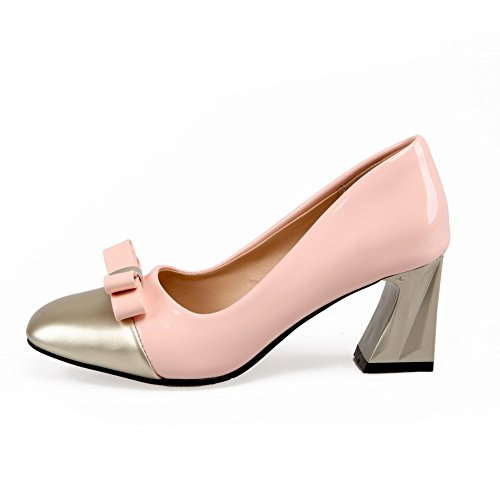 Allhqfashion Mujer's Pull-on Square Cerrado Con Tacones Bajos Pu Pu Color Surtido De Bombas-Zapatos Pink