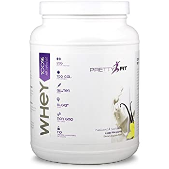 PrettyFit All-Natural Whey Protein Isolate - 24 Servings - Whey Protein Powder for Women - 100 Calories, 0 Sugars, <1g Carbs, Gluten-Free, w/ Digestive Enzymes (Natural Vanilla)