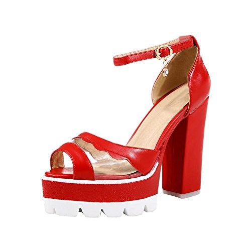 Carolbar Womens Peep Toe Cinturino Alla Caviglia Sexy Moda Fibbia Trasparente Piattaforma Alti Sandali Tacco Grosso Rosso