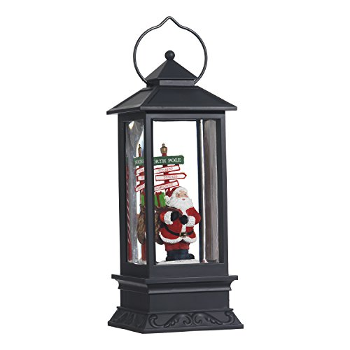 Lighted Snow Globe Lantern: 11 Inch, Black Holiday Water Lantern by RAZ Imports