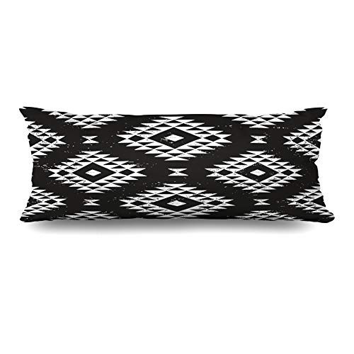 DIYCow Body Pillows Covers Aztec Black White Navajo Geometric Peru Tribal Abstract Pattern Cushion Case Pillowcase Home Sofa Couch Rectangular Size 20 x 54 Inches Pillowslips