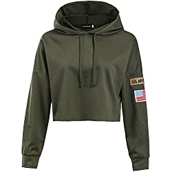 YJQ Women's Long Sleeve Hoodie Crop Top Sports Sweatshirt with Armband Army Green M
