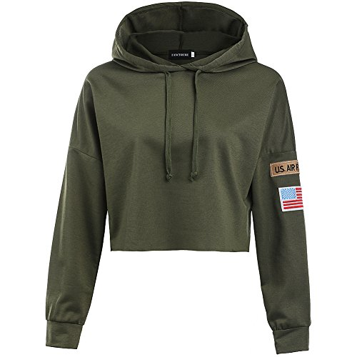 YJQ Women's Long Sleeve Hoodie Crop Top Sports Sweatshirt with Armband Army Green (Military Crop)