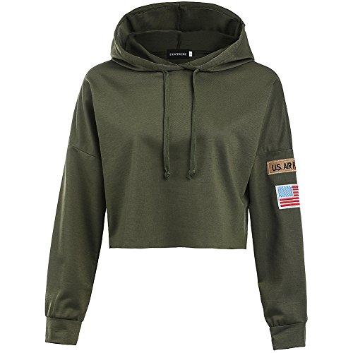 YJQ Women's Long Sleeve Hoodie Crop Top Sports Sweatshirt with Armband Army Green M
