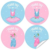 2 Inch Ballerina Tutu Thank You Stickers - Ballet Dancer Theme Birthday Party Labels Favors Decorations - 40 Stickers