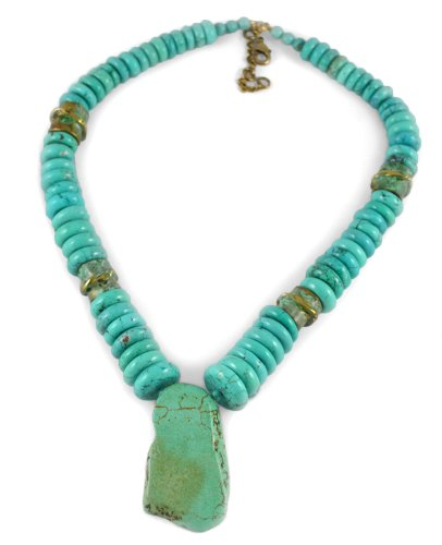 Turquoise Slab and Twisted Swirl Beads Necklace by Elaine Coyne