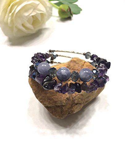 Natural Angelite Stone and Chipped Amethyst Bracelet with Crystal Accents. Memory Wire. Throat Chakra Balance. Upper Chakras Balance. Stones of Strength and Purity.