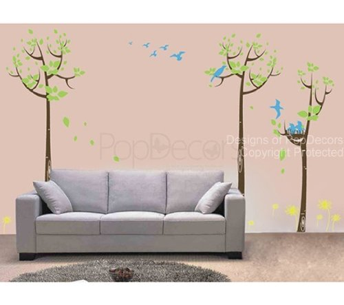 PopDecors - Polka Dot Tree - 71in H - (Orange, Yellow and Blues) removable vinyl art wall decals stickers decal sticker mural PT-0063 (Orange and Blues)