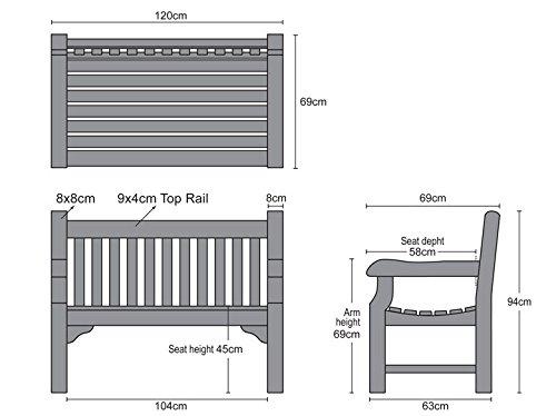 4ft Teak Park Bench Brand Quality /& Value Jati Gladstone 2 Seater Garden Bench
