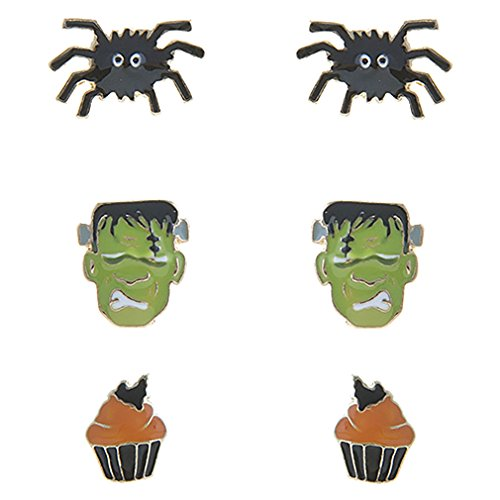 ACCESSORIESFOREVER Halloween Costume Jewelry Spider Frankenstein Cupcake 3 Sets Mini Earrings E1221 ()