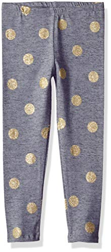 Osh Kosh Girls' Kids Full Length Legging, Grey/Gold Dot, 8]()