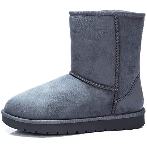 Boots Flat Womens Camel (Women's Warm Winter Boots Ankle High Classic Vegan Suede Faux Sheepskin Shearling Snow Boots Grey,Size 10)