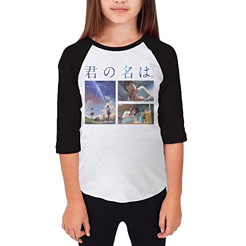 Price comparison product image 101dog Your Name Unisex Youth Casual 3 / 4 Raglan T-Shirt XL