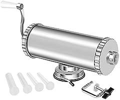MASTER FENG Poussoir à Saucisse, en Aluminium Inoxydable à Saucisse Manuel avec 4 Tubes Embouts Remplissage de...