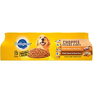 PEDIGREE Chopped Ground Dinner Filet Mignon & Bacon Flavor and Bacon & Cheese Flavor Adult Canned Wet Dog Food Variety Pack, (12) 13.2 oz. Cans 35