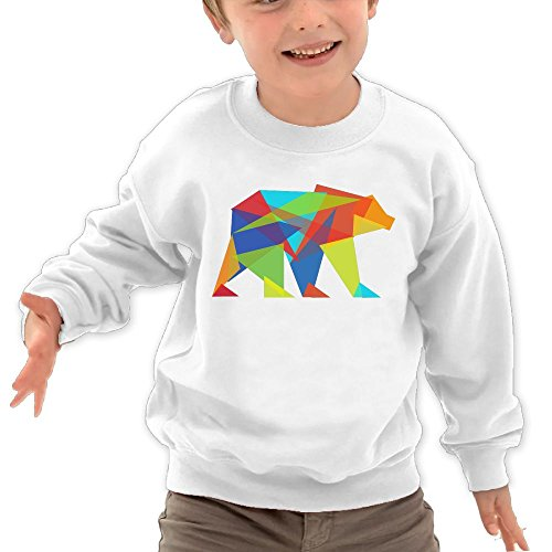 Price comparison product image Puppylol Mountain Bear Kids Classic Crew-neck Pullover Hoodie White 4 Toddler